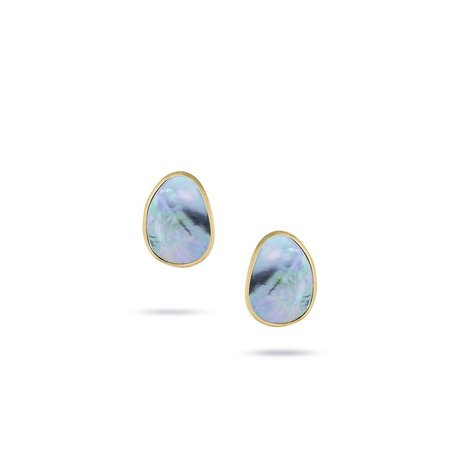 Marco Bicego Lunaria Collection Flat Gold Mother of Pearl Medium Stud Earrings - 18K Yellow Gold