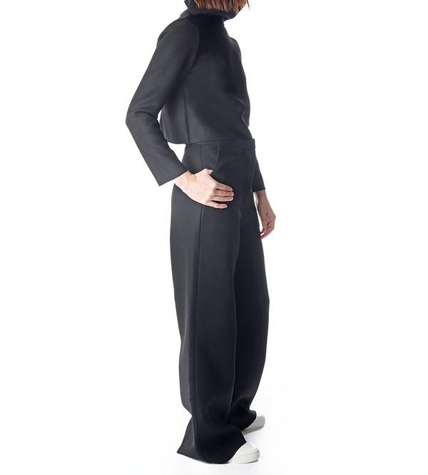 Charlie May Black Wool Cowl Neck Top