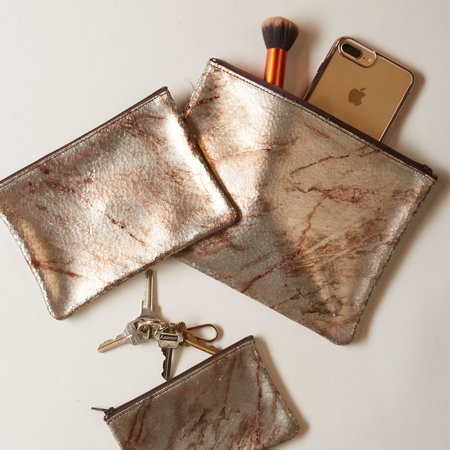 Tracey Tanner Medium Flat Zip Pouch - Warm Marble