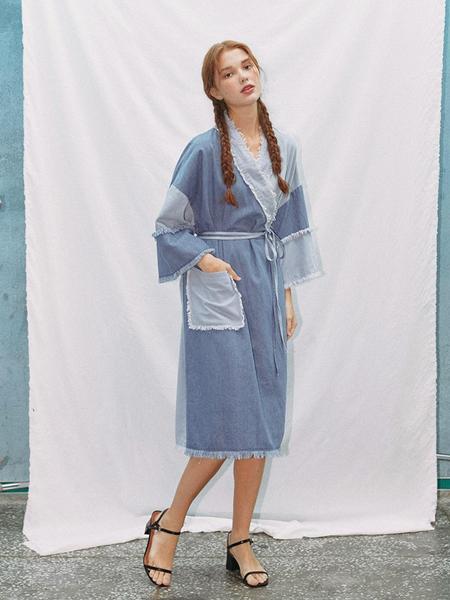 EYEYE Color Combination Washing Denim Robe Dress - Blue