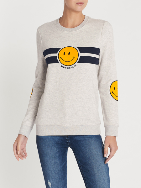 Zoe Karssen High On Life Loose Fit Embroidered Sweatshirt - GREY HEATHER