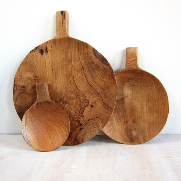 teak wood paddle trays