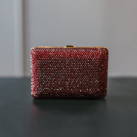 Vintage Judith Leiber Couture Box Clutch - Red Crystal