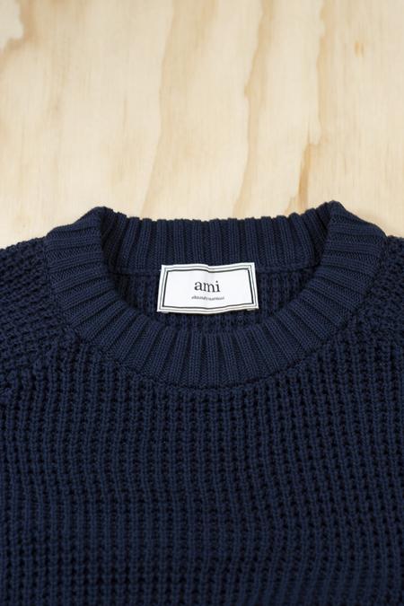 AMI Navy Wool Crew Neck Oversize Sweater