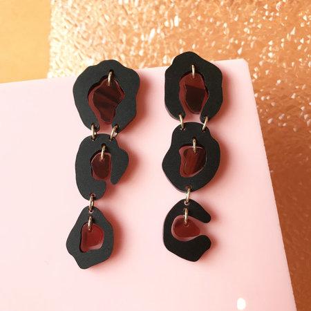 Wasted Effort Leopard Earrings - Black