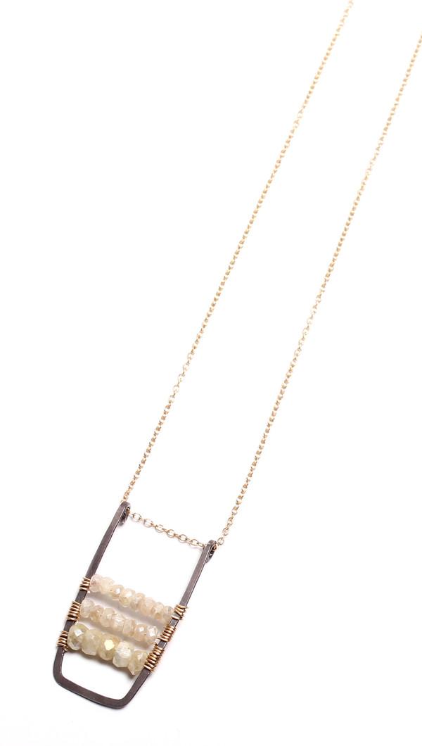 James and Jezebelle Silverite Oxidized U Bar Necklace