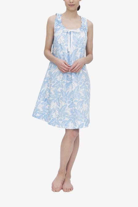 The Sleep Shirt Sleeveless Nightie - Blue Tropical Print