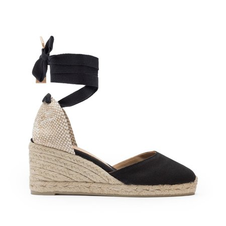 Castaner Carina Canvas Wedge - Black/Natural