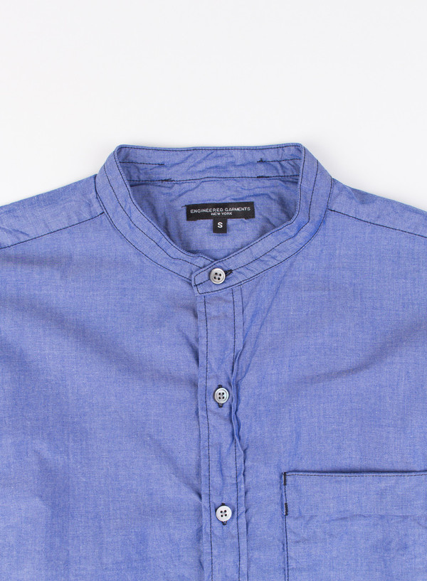 Men's Engineered Garments Banded Collar Shirt Blue Chambray
