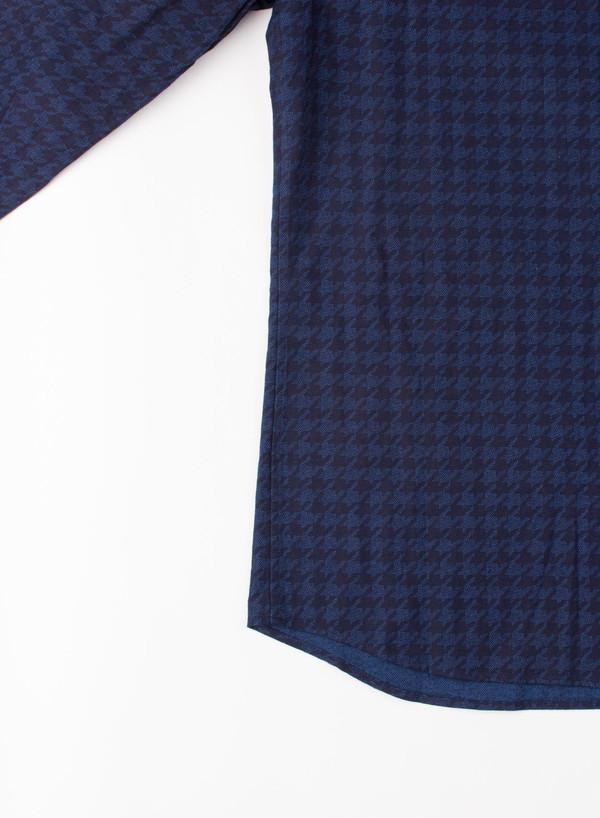 Men's Blue Blue Japan Indigo Houndstooth Flannel Over Printed Shirt