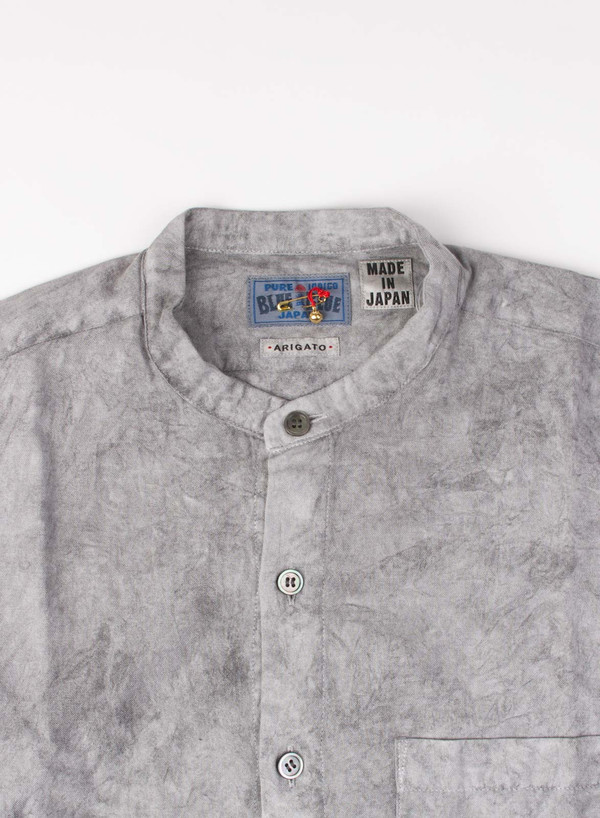 Sumi Ink Dyed Twill Stand Collar Over Shirt