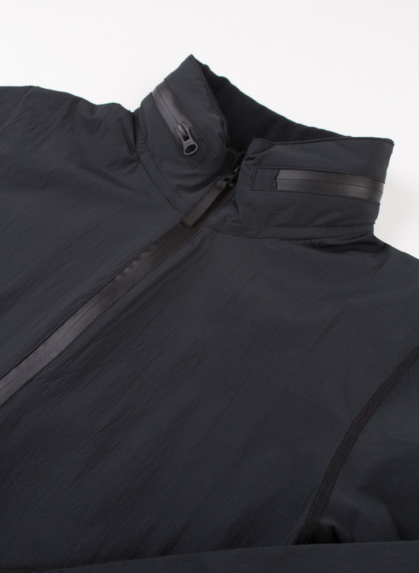 Men's Reigning Champ Woven Stretch Nylon Stow Away Hood Zip Jacket Black