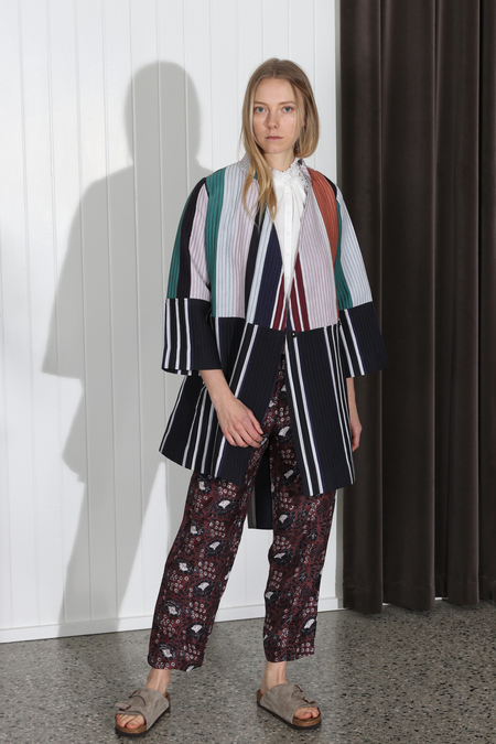 Apiece Apart Boro Patch Wrap Jacket - Stripe Mixto