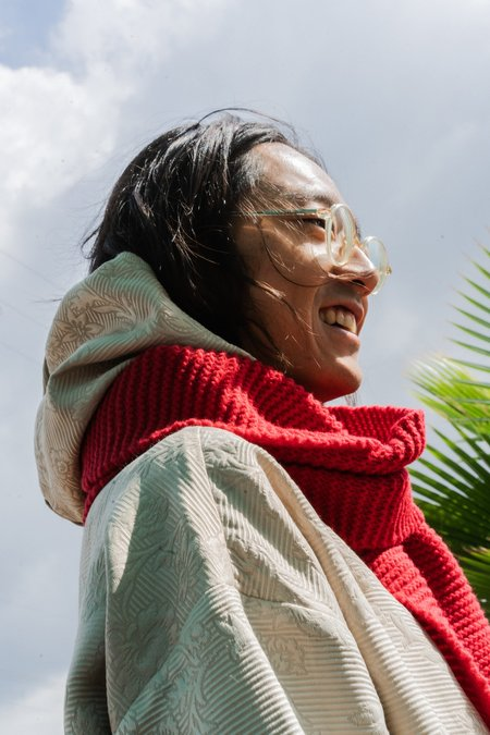 Camiel Fortgens Handknit Grandma Wool Scarf - RED