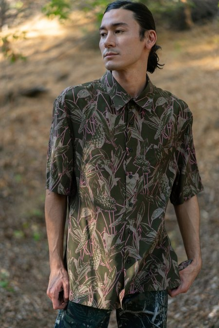 Lanvin Oversized Floral Print Shirt - Dark Khaki/Pink