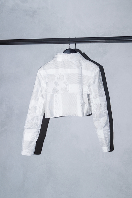 HELENA MANZANO SILK BROCADE CROPPED YUNGA JACKET - WHITE