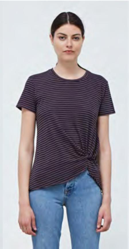 Stateside Stripe Twist Tee - Taupe/Navy