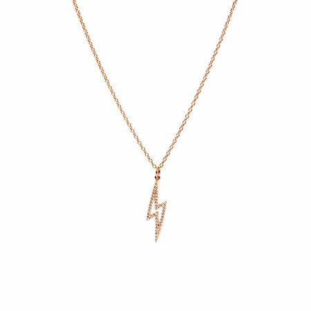 Bridget King Baby Lightning Diamond Necklace - 18k Rose Gold