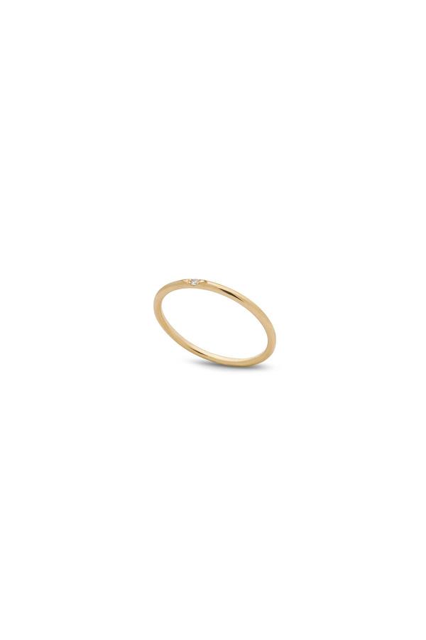 Kara Yoo Single Stone Petite Ring 14KYG - White Diamond