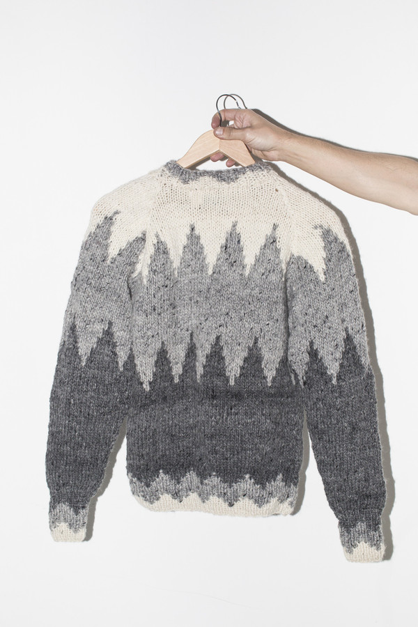Men's Chamula Wool ZigZag Pullover - Pearl Grey