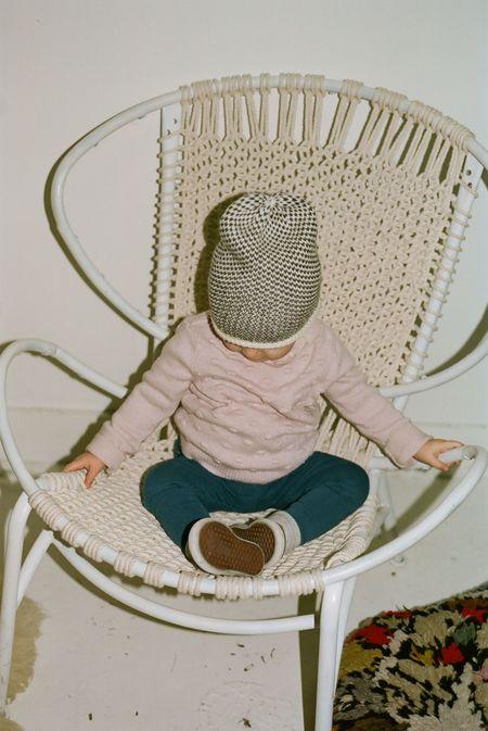 Kids Kordal Ellen Baby Seed Stitch Hat - Cream/Dark Grey