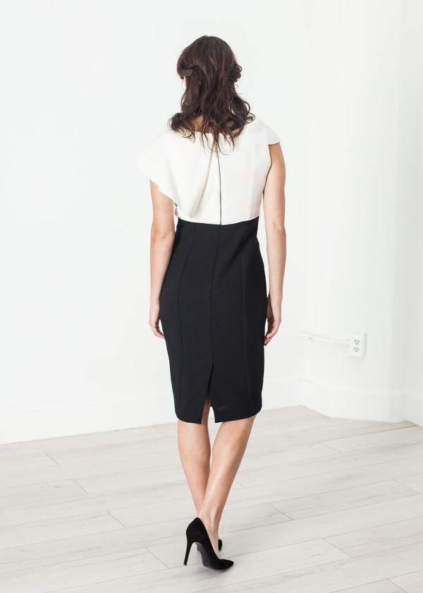 Amelia Toro Asymmetric Dress in Cream/Black