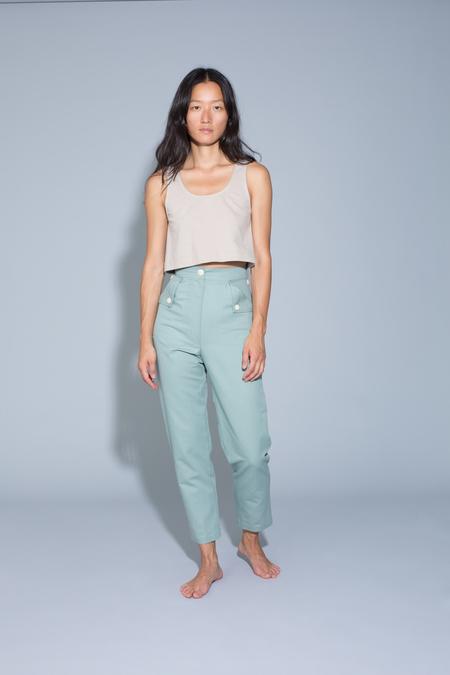 Ilana Kohn Huxie Pants in Jade Ctn/Linen