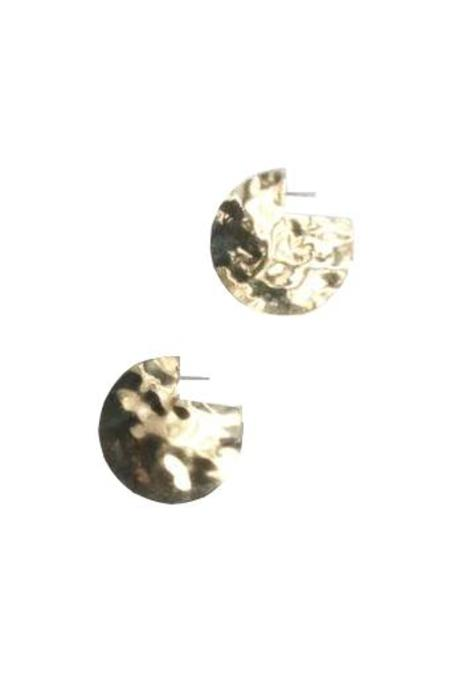 Young Frankk Hammered Circle Earrings - Gold Plated