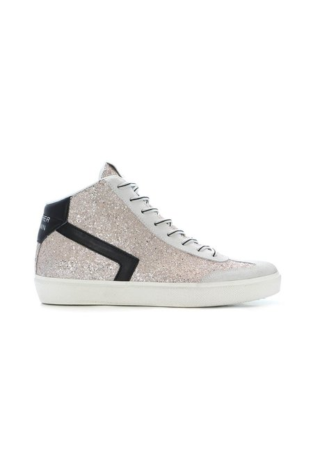 Leather Crown Skate High Top Sneaker - Rose Glitter