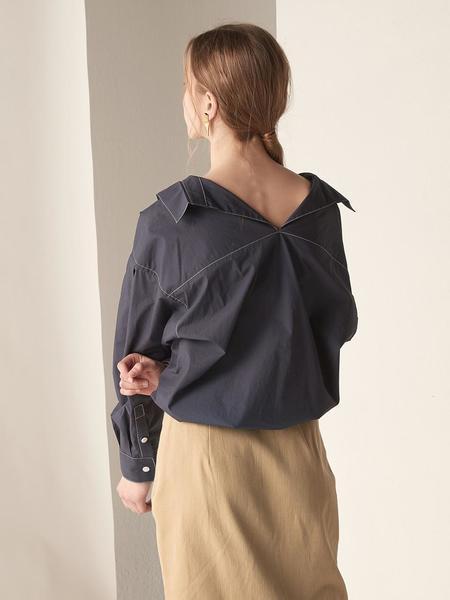 BEMUSEMANSION Stitch Boxy Shirt - Navy