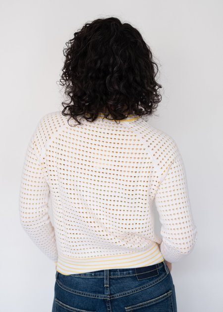 Autumn Cashmere Tone Stitch Raglan Sweater - Bleach White/Marigold