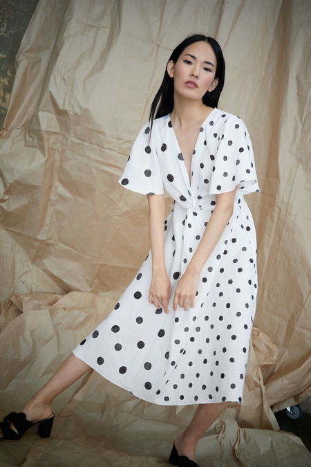 WHiT Twist Dress in White/Black Polka Dots On Linen