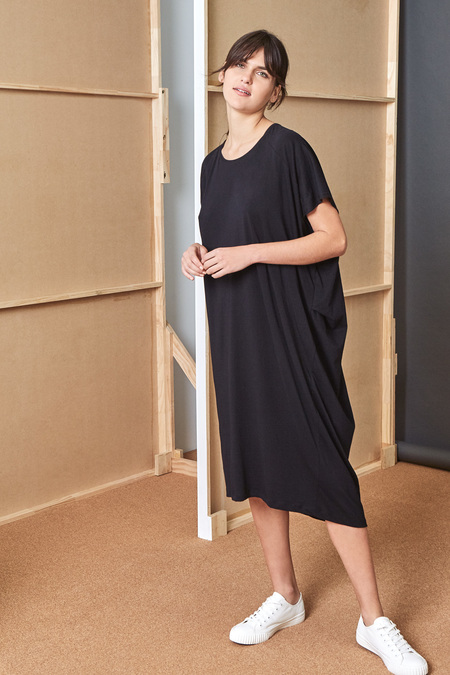 Kowtow Building Block Drape Dress in Black