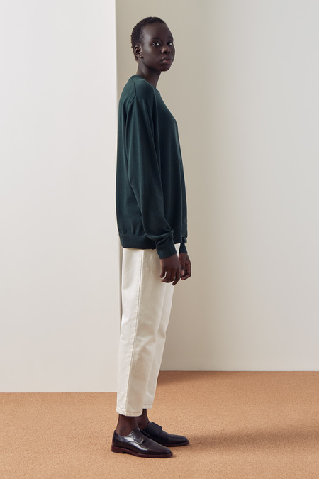 Kowtow Knit Boyfriend Top in Bottle Green