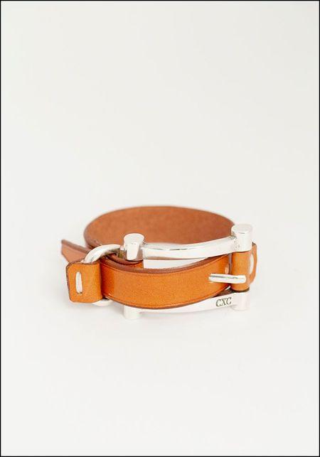 CXC Leather Oversized Buckle Bracelet