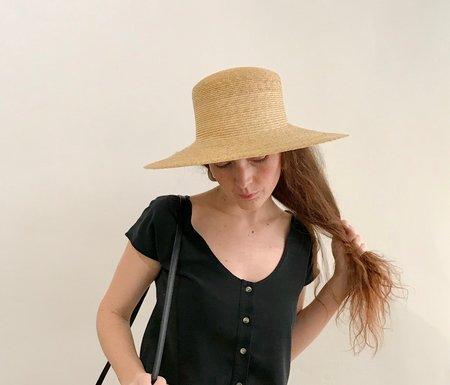 b214c22e3a4 ... Clyde Medium Brim Flat Top Hat - Natural