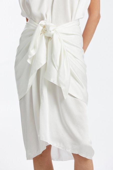 Miranda Bennett Silk Charmeuse Sarong - White