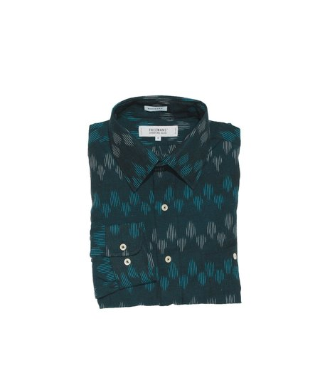 Freemans Sporting Club Point Collar Shirt - Blue Ikat