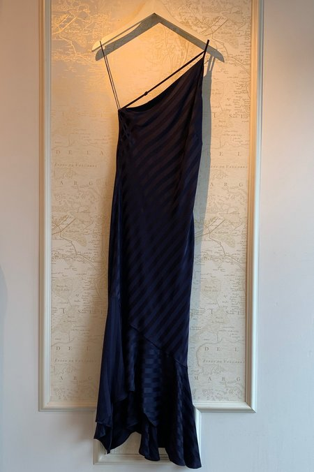 9a55438049854 ... Michelle Mason Silk Stripe One Shoulder Ruffle Hem Dress