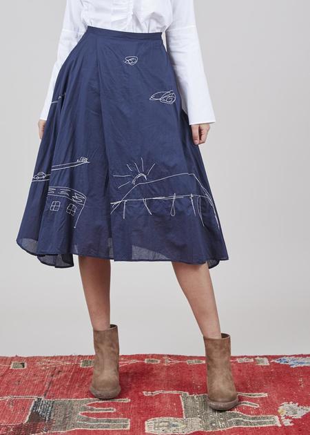 Yoshi Kondo Helen Embroidered Skirt - Navy