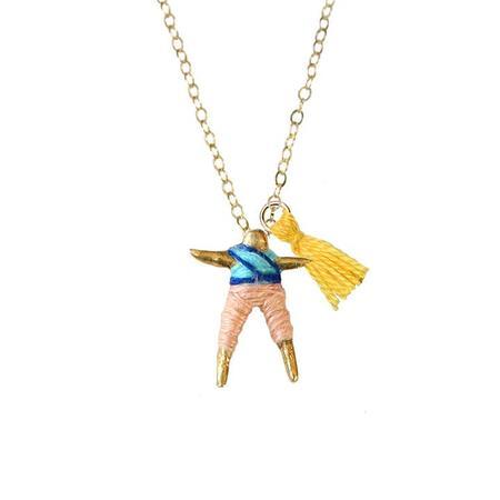 Hechizo Lindo Worry Doll Necklace - Blue/Peach
