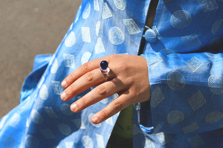 Mary Poppin Glass Ring - Clear/Blue