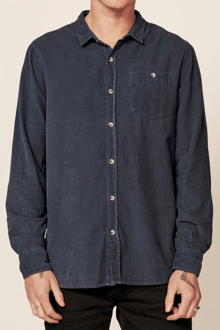 Rollas Men At Work Cord Shirt - Trade Blue