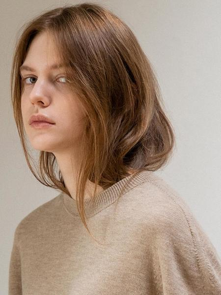 LE Whole Garment Round Knit Pullover - Beige