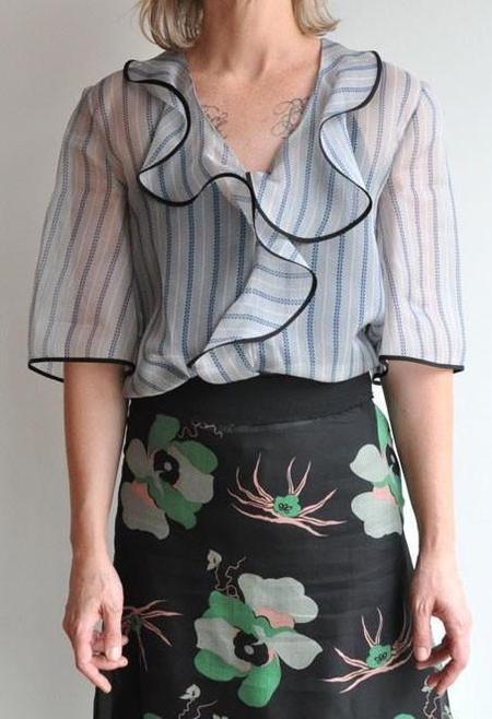 Marni Short Sleeve Neck Blouse - Pigeon Hejira