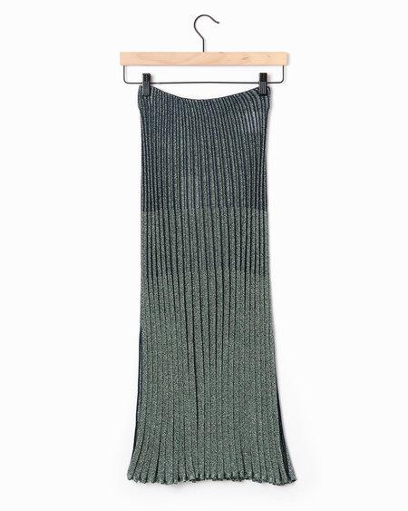 Cedric Charlier Metallic Rib Skirt - Green