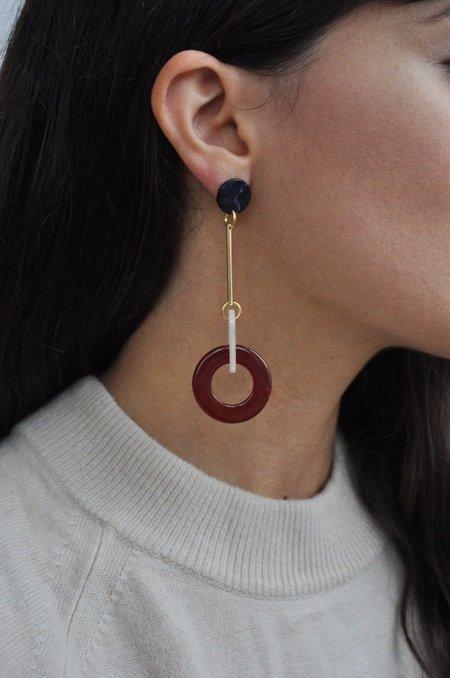 iuo Sphere Earrings - Wine Marble