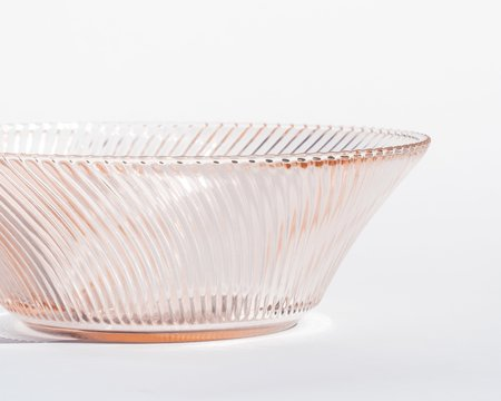 VINTAGE Collected by Wynne Ware Glass Spiral Ribbed Bowl - PINK
