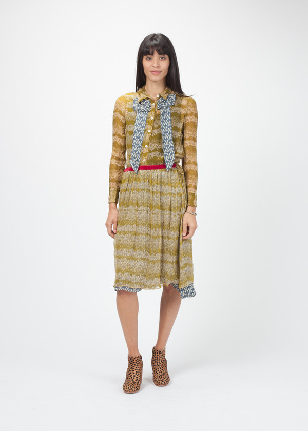 Silk Print Blouse With Skirt
