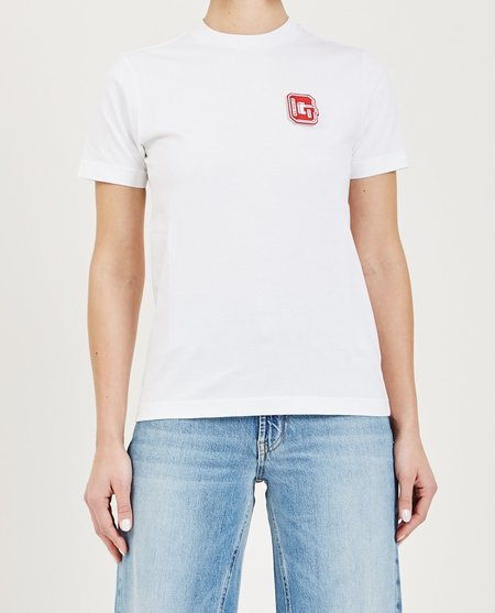 Ganni WRIGHT PATCH TEE - BRIGHT WHITE